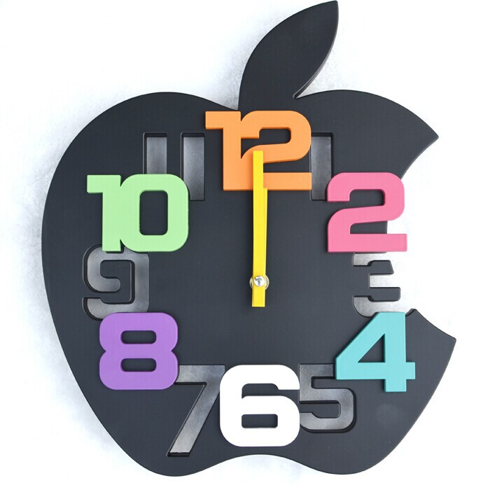 Mute Apple Shape Wall Clock Creative Personality 3d Digital Fashion